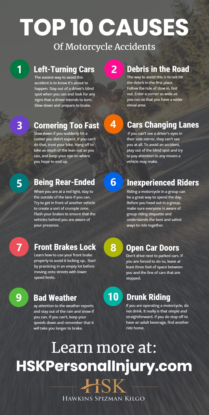 hsk top 10 causes of motorcycle accidents