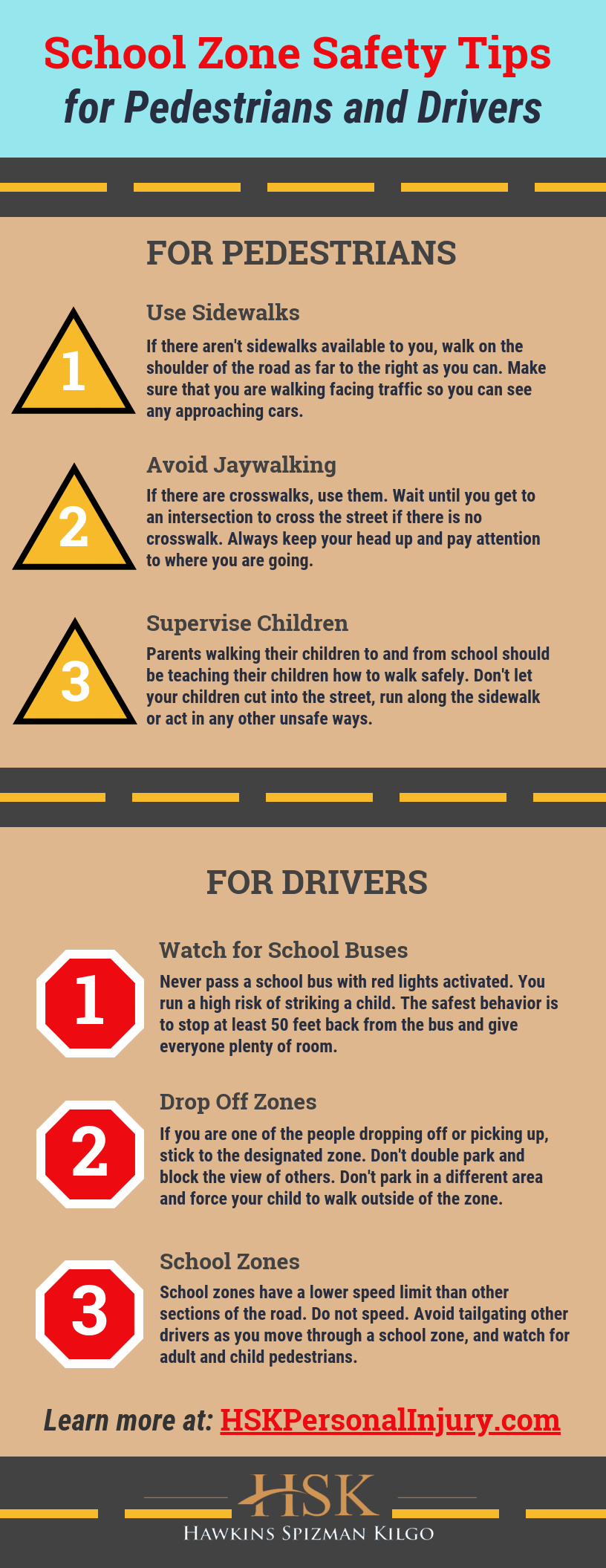 School Zone Safety Tips for Pedestrians and Drivers infographic